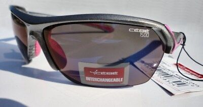 Cebe Wild 1500 Sunglasses Metallic Gray Frame 4 Lens Sets Clear Flash Yellow NEW