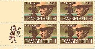 U S  Mint Nh Ll Zip Code Blk Of 4  10C D  W  Griffith Motion Picture   1555