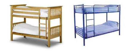 2 sets wooden and iron bunk bed frame