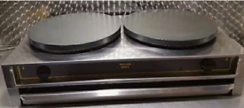 ROLLER GRILL ELECTRIC TWIN HEAD CREPE PANCAKE MACHINE MAKER