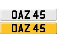 *OAZ 45* Dateless Personalised Cherished Number Plate Audi BMW M3 Ford VW Caddy Mercedes Vauxhall