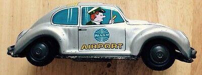 PAN AM AIRWAYS VOLKSWAGEN BEETLE AIRPORT TIN TOY FRICTION CAR, KASHIWAI, JAPAN