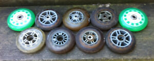 ROUES DE TROTINETTE USAGÉES RONDES / SCOOTER WHEELS USED ROUND