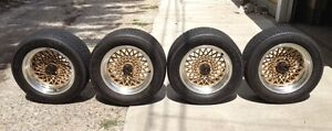 Aluminum Gold Honey comb Rims and Goodyear Tires NEWPRICE
