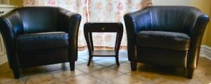 Two Leather Club Chairs with Small Wooden Table