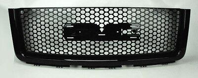 GMC Sierra 1500 Light Duty Punch Hole Gloss Black Front Bumper Hood Grill