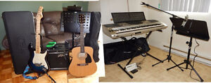 Guitares, clavier et micros comme neuf