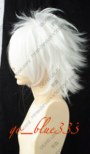 914 COS WIGS New Short White Cosplay Party Anti-Alice Wig +free gift
