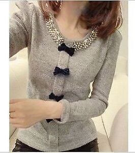 Beaded bow knitted sweater