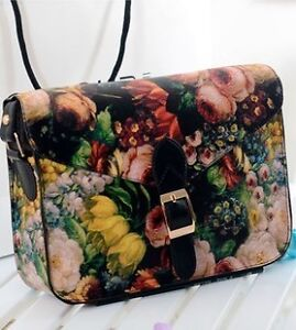 Oil-painting Style Women girls' Leather cross body bags Shoulder Bag