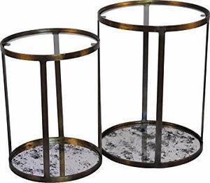 Antique Metal Frame Side Tables Set of 2 Retail $1,299 HUGE SALE NOW $225!!!