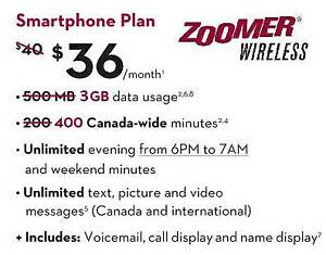 $36 - 3GB LTE Data/400 min daytime/unlim txt on ROGERS (ZOOMER)
