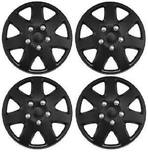 BLACK WHEEL TRIMS/COVERS/HUB CAPS FOR FIAT 500/PUNTO