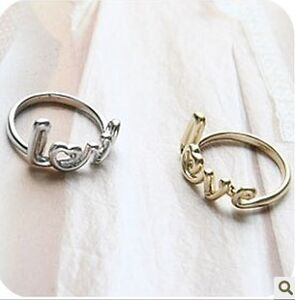 Fashion love letter ring new elegant classic pretty gold silver colour cute