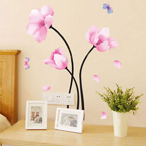 PINK-FLOWERS-Butterfly-Removable-Wall-Sticker-Kids-Girls-Living-Room-Bathroom