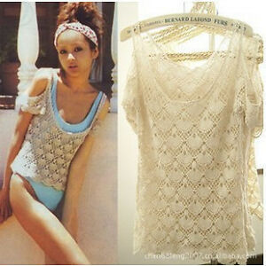 T47-WOMEN-LACE-CROCHET-T-SHIRT-OFF-SHOULDER-HOLLOW-FLOUNCING-see-through-tee-new