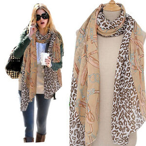 New-Fashion-Womens-girls-leopard-chain-print-scarf-wrap-shawl-FREE-SHIPPING