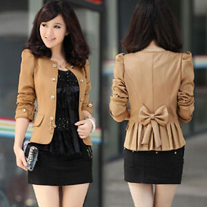 New-Womens-Slim-Fit-Business-Double-breasted-Puff-Sleeve-Suit-Blazer-Jacket-Coat