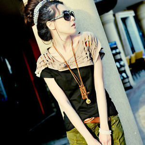 new-Casual-Trendy-Women-Girls-short-Sleeve-crew-neck-Tops-Blouse-weave-T-shirt