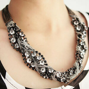 Victorian-antiqued-vintage-Rhinestone-twist-biker-punk-chain-choker-bib-necklace