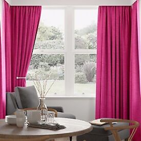Fusia pink cotton pencil pleat lined curtains