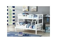 NEW SUPERB QUALITY TRIO WOODEN BUNK BED FRAME DOUBLE BOTTOM & SINGLE TOP HIGH QUALITY