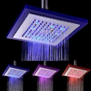 tete de douche avec lumiere DEL shower head light LED 8 pouces