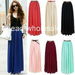 2013-New-Lady-Chiffon-Pleated-Retro-Long-Maxi-Dress-Elastic-Waist-Skirt