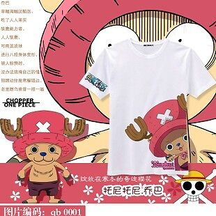 One Piece Chopper Men Women Casual Cartoon Cotton Short-Sleeved T-Shirt Clothes on Rummage
