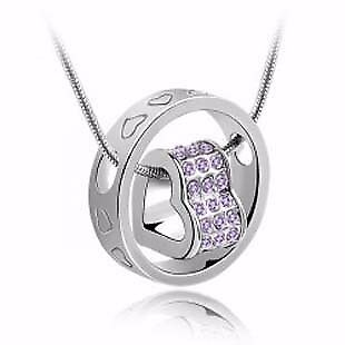 5x Necklace Diamante Crystal Heart in Ring brand new Job Lot Car Boot Wholesale FREE POSTAGE