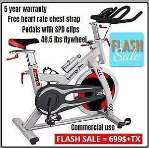 5 YEAR WARRANTY ON ALL PARTS - SYNERGY PRO COMMERCIAL SPINNING BIKE