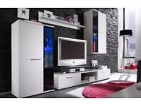 White and black wall unit (TV stand, cabinets, shelf)