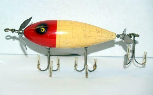 Lure muskie vintage wooden ebay for Vintage fishing lure identification