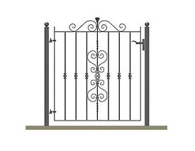 Wrought iron ornate garden gate & posts