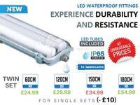 5FT IP65 Non corrosive Fluorescent Light Fittings T8 LED Tube Light Twin Batten for sale  Hull, East Yorkshire