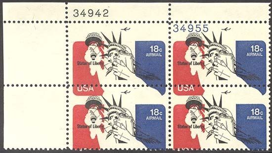 C87, Mnh Plate Block Black & Red Colors Shifted Down