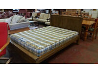 Solid oak double bed frame with mattress
