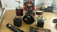 drum, guitare, base, amplis