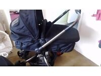 Mothercare orb carrycot and seat unit and maxi-cosi carseat with adapters