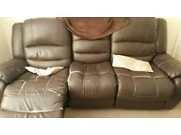 Leather reclining sofas 3 + 2 Brown with material damage