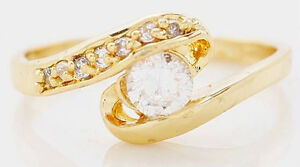 10KT Yellow Gold Filled White Sapphire Ring 7.5 BRAND NEW