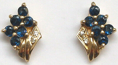 14K Solid Yellow Gold Genuine Sapphire=.57ct. and Diamond Earrings