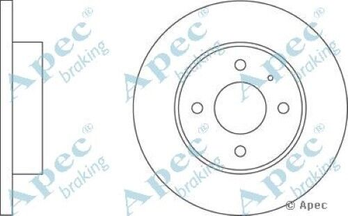 1x OE Quality Replacement Front Axle Apec Solid Brake Disc 4 Stud 239mm - Single