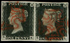 Used Great Britain Victoria Penny Black Stamps