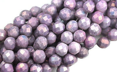 25 Amethyst Luster MIx Faceted Glass Loose Beads 8MM