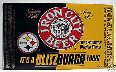 Steelers 94 Football Champ Iron City Beer Bottle Label
