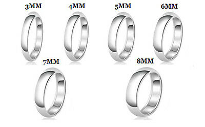 Ring - Sterling Silver 925 Solid Couples Plain Comfort Fit Wedding Band Promise Ring
