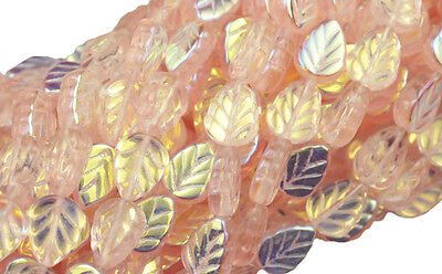 25 PINK AB CZECH GLASS LEAF BEADS 10MM Ab Leaf Czech Glass Beads