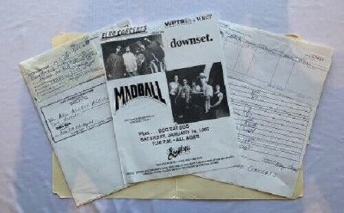 Downset Concert Contract 1995 Pittsburgh