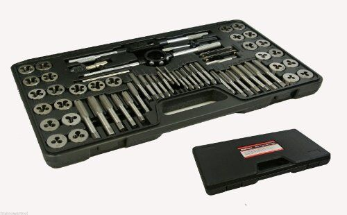 60 Piece Alloy Steel SAE & Metric Tap and Die Set Case Incl!  Warranty